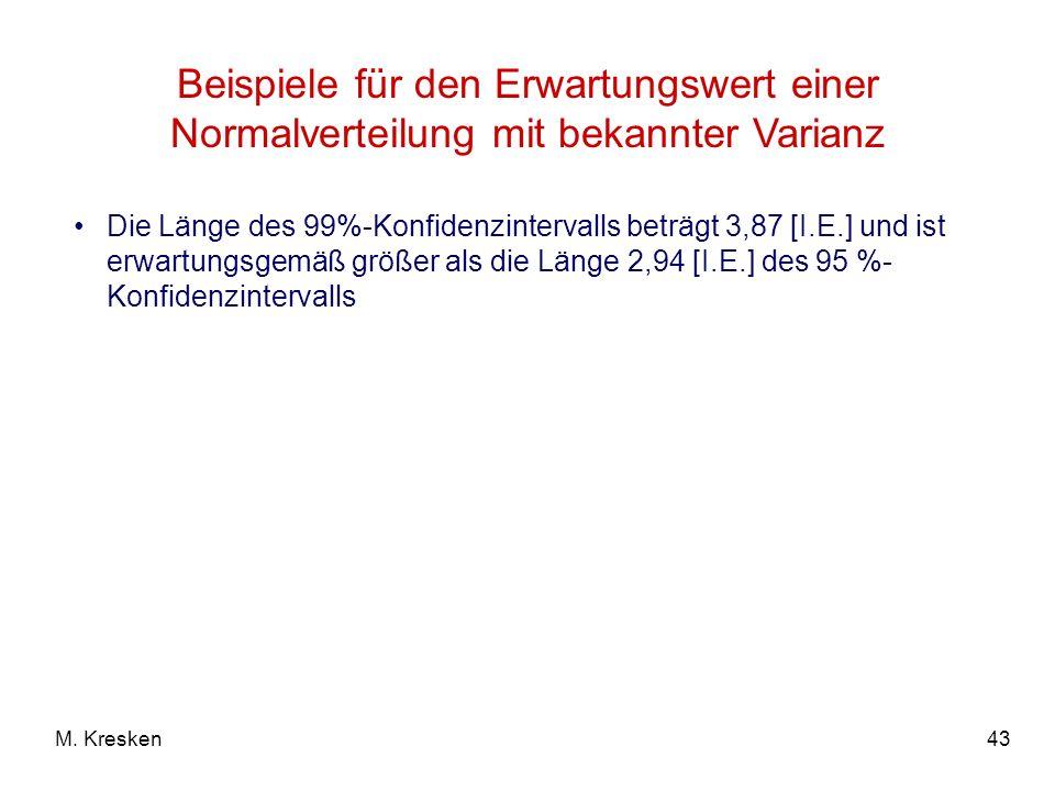 43M. Kresken Beispiele für den Erwartungswert einer Normalverteilung mit bekannter Varianz Die Länge des 99%-Konfidenzintervalls beträgt 3,87 [I.E.] u