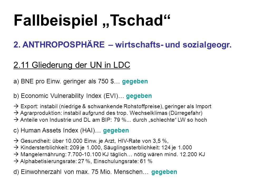 Fallbeispiel Tschad 2. ANTHROPOSPHÄRE – wirtschafts- und sozialgeogr. 2.11 Gliederung der UN in LDC a) BNE pro Einw. geringer als 750 $… gegeben b) Ec