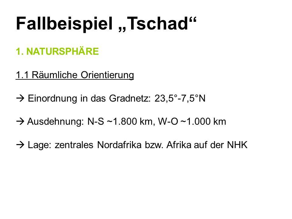 Fallbeispiel Tschad 1. NATURSPHÄRE 1.1 Räumliche Orientierung Einordnung in das Gradnetz: 23,5°-7,5°N Ausdehnung: N-S ~1.800 km, W-O ~1.000 km Lage: z