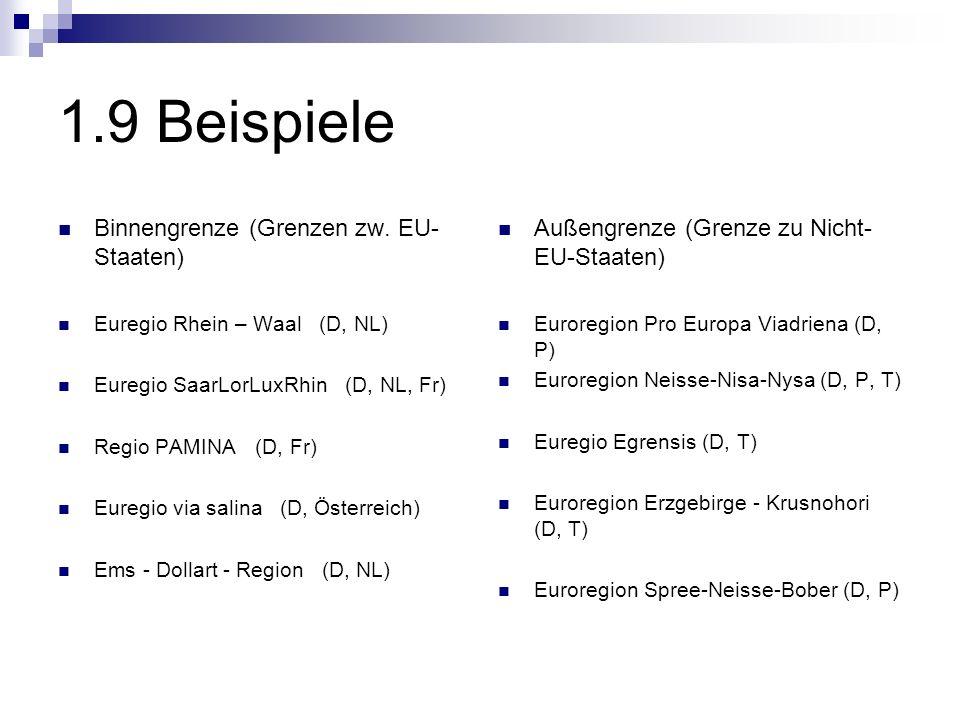 1.9 Beispiele Binnengrenze (Grenzen zw. EU- Staaten) Euregio Rhein – Waal (D, NL) Euregio SaarLorLuxRhin (D, NL, Fr) Regio PAMINA (D, Fr) Euregio via