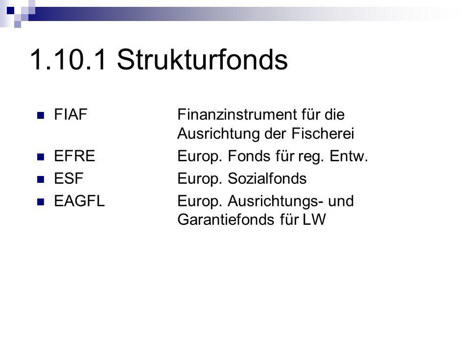 1.10.1 Strukturfonds FIAF Finanzinstrument für die Ausrichtung der Fischerei EFRE Europ. Fonds für reg. Entw. ESFEurop. Sozialfonds EAGFL Europ. Ausri