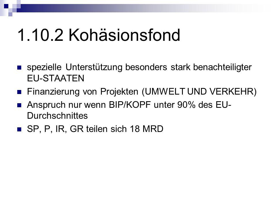 1.10.2 Kohäsionsfond spezielle Unterstützung besonders stark benachteiligter EU-STAATEN Finanzierung von Projekten (UMWELT UND VERKEHR) Anspruch nur w