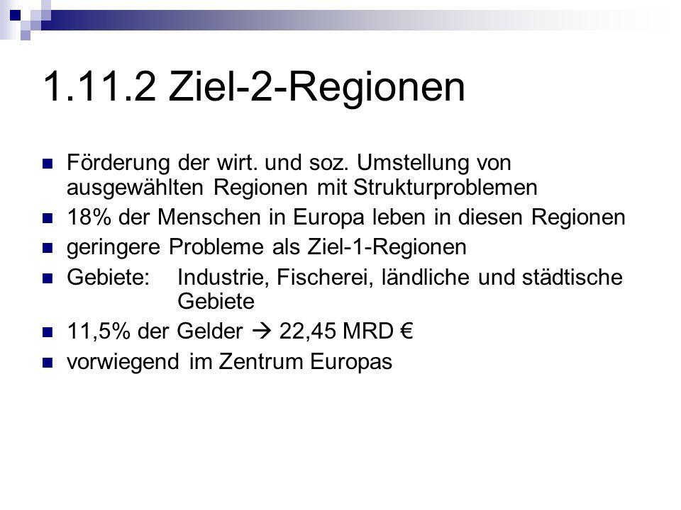 1.11.2 Ziel-2-Regionen Förderung der wirt. und soz. Umstellung von ausgewählten Regionen mit Strukturproblemen 18% der Menschen in Europa leben in die