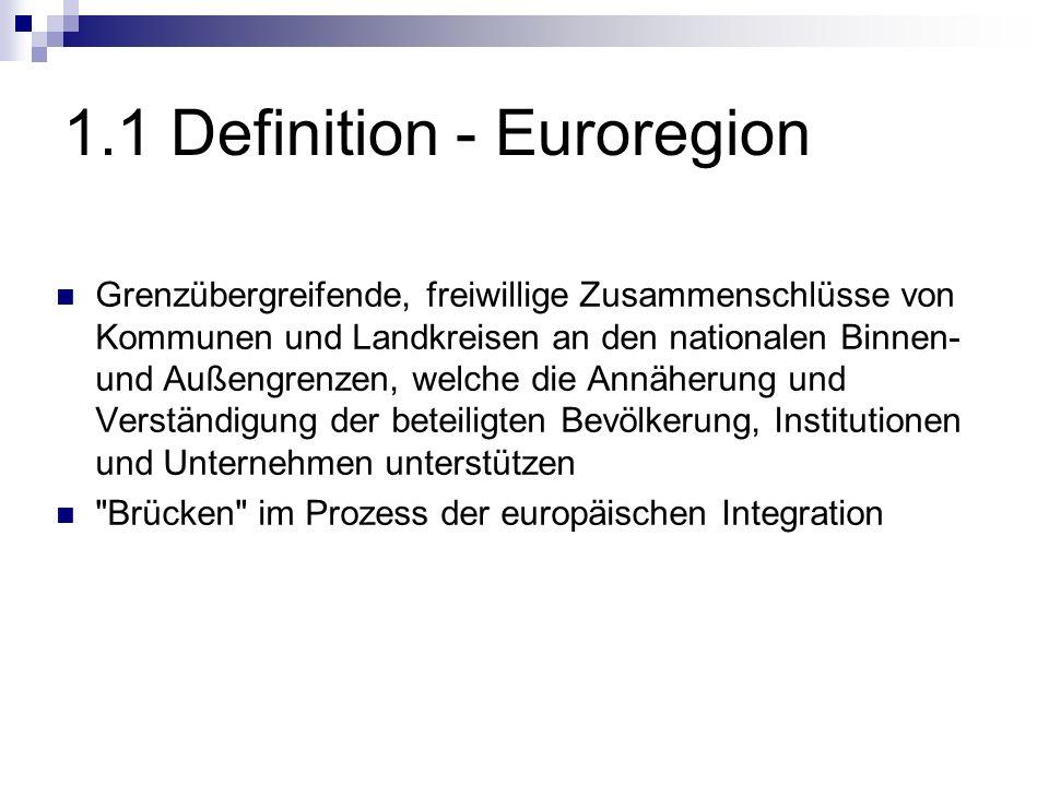 1.1 Definition - Euroregion Grenzübergreifende, freiwillige Zusammenschlüsse von Kommunen und Landkreisen an den nationalen Binnen- und Außengrenzen,