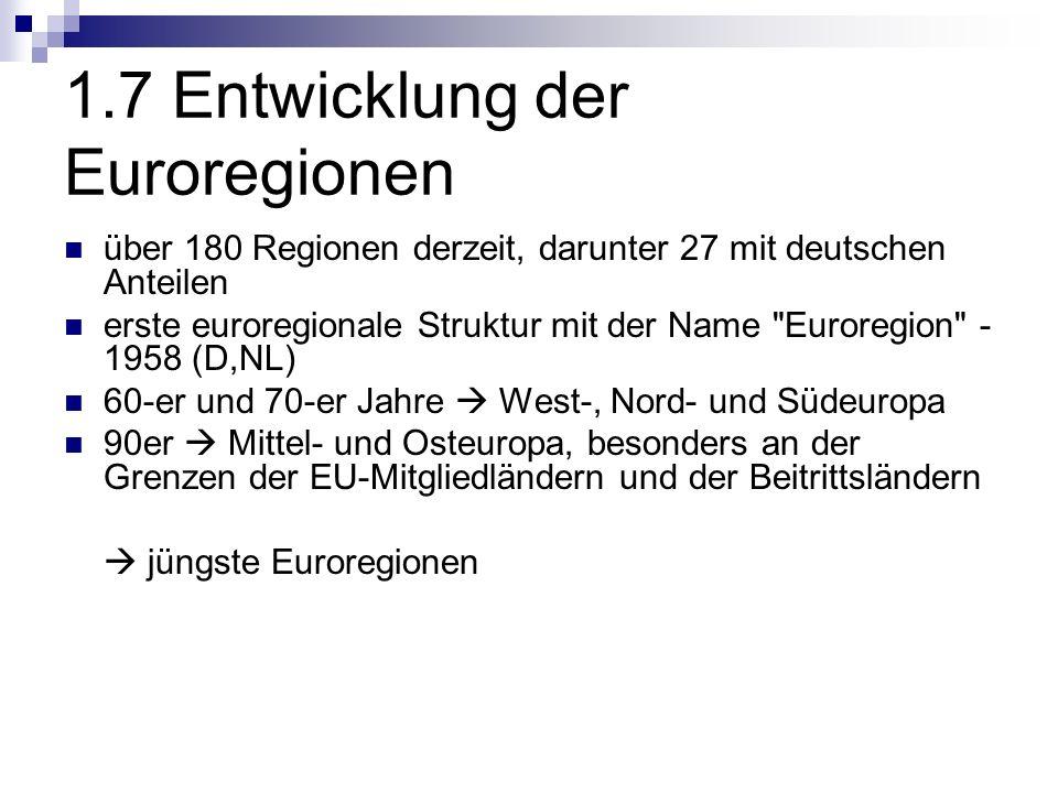 1.7 Entwicklung der Euroregionen über 180 Regionen derzeit, darunter 27 mit deutschen Anteilen erste euroregionale Struktur mit der Name