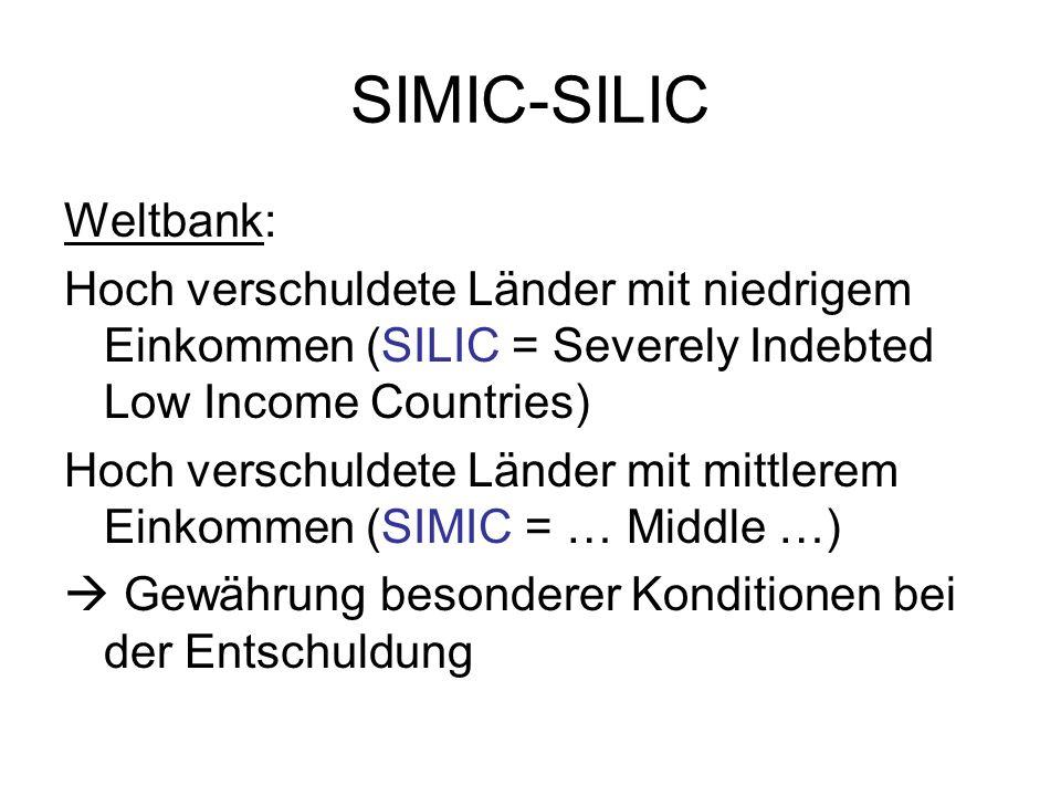 SIMIC-SILIC Weltbank: Hoch verschuldete Länder mit niedrigem Einkommen (SILIC = Severely Indebted Low Income Countries) Hoch verschuldete Länder mit mittlerem Einkommen (SIMIC = … Middle …) Gewährung besonderer Konditionen bei der Entschuldung