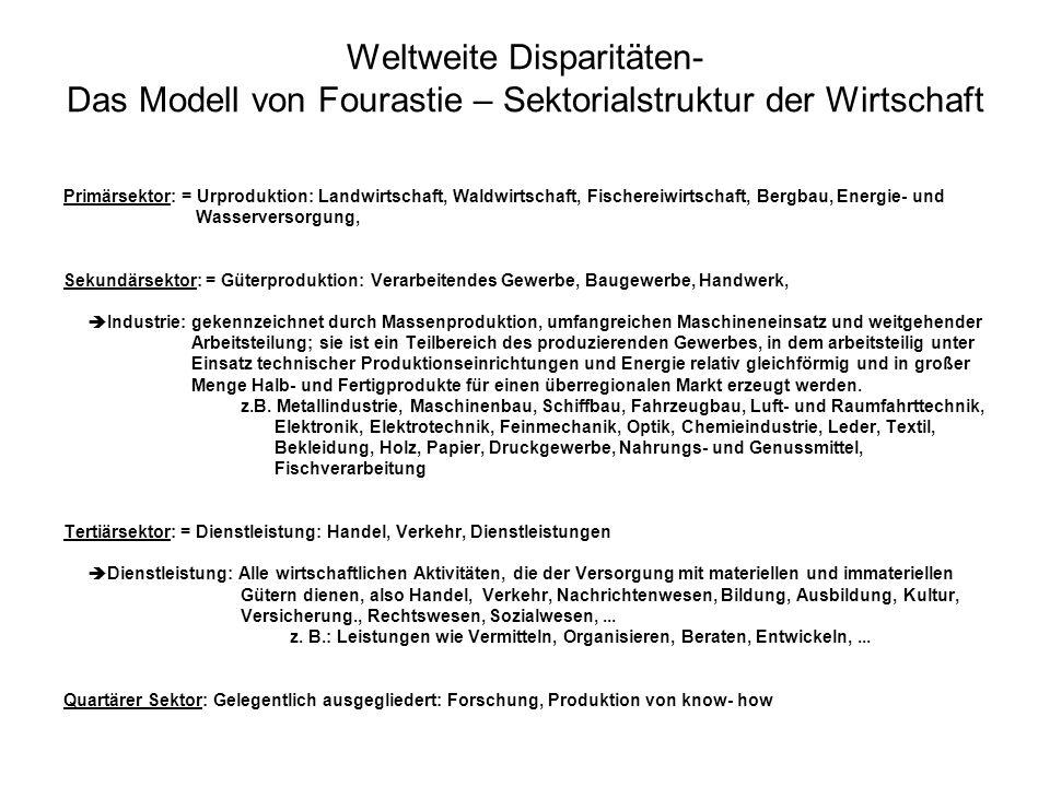Weltweite Disparitäten- Das Modell von Fourastie – Sektorialstruktur der Wirtschaft Primärsektor: = Urproduktion: Landwirtschaft, Waldwirtschaft, Fisc