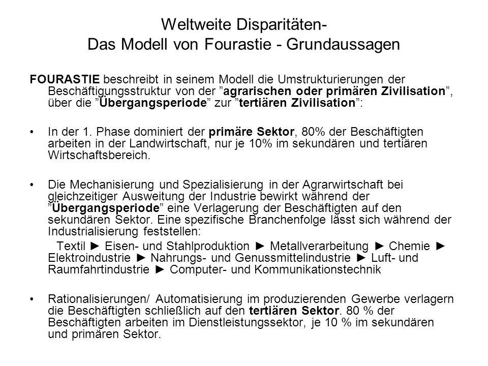 Weltweite Disparitäten- Das Modell von Fourastie - Grundaussagen FOURASTIE beschreibt in seinem Modell die Umstrukturierungen der Beschäftigungsstruktur von der agrarischen oder primären Zivilisation, über die Übergangsperiode zur tertiären Zivilisation: In der 1.