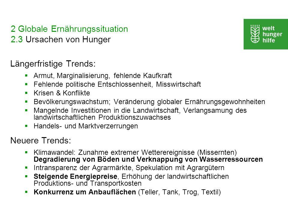 2 Globale Ernährungssituation 2.3 Ursachen von Hunger Längerfristige Trends: Armut, Marginalisierung, fehlende Kaufkraft Fehlende politische Entschlos