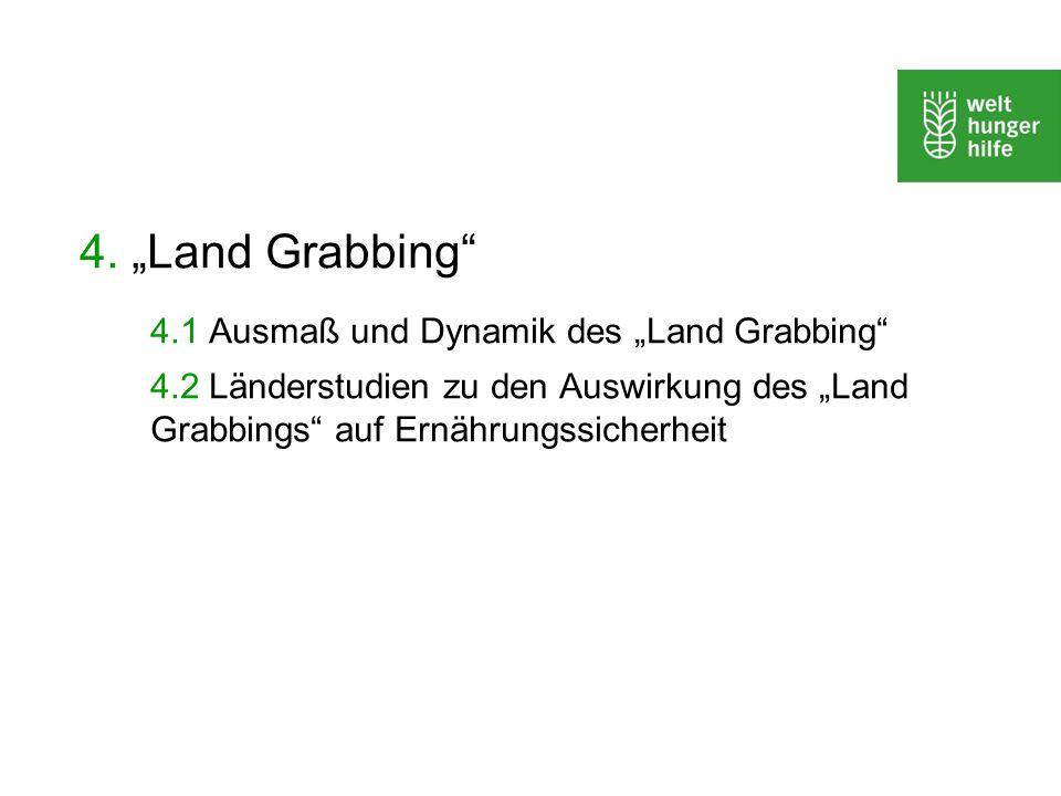 4. Land Grabbing 4.1 Ausmaß und Dynamik des Land Grabbing 4.2 Länderstudien zu den Auswirkung des Land Grabbings auf Ernährungssicherheit