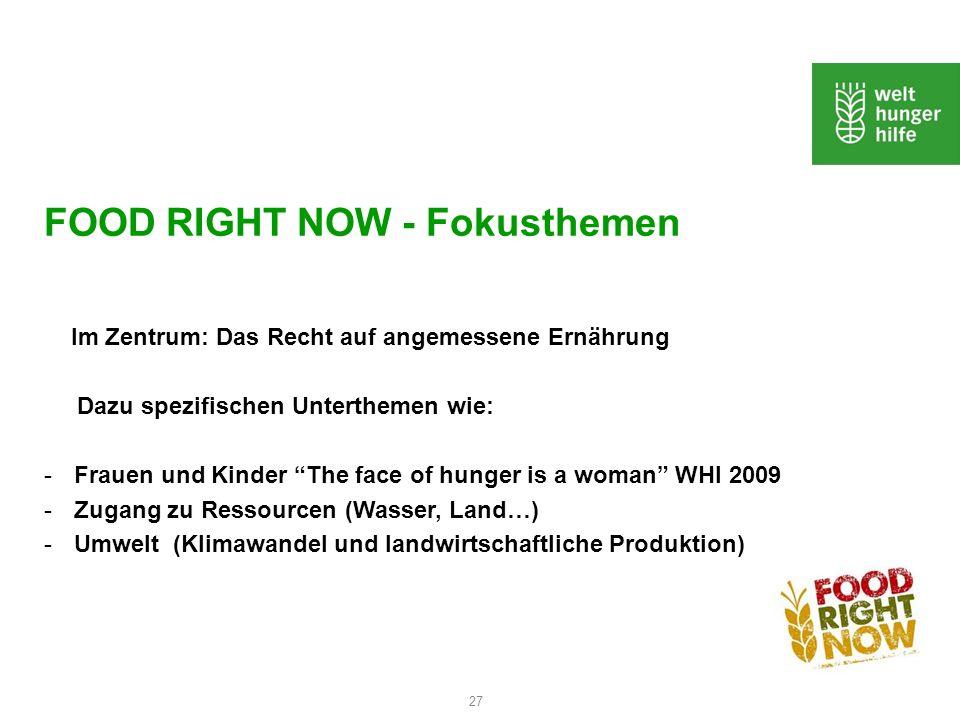 27 FOOD RIGHT NOW - Fokusthemen Im Zentrum: Das Recht auf angemessene Ernährung Dazu spezifischen Unterthemen wie: -Frauen und Kinder The face of hung