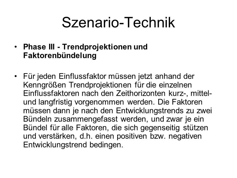 Szenario-Technik Phase III - Trendprojektionen und Faktorenbündelung Für jeden Einflussfaktor müssen jetzt anhand der Kenngrößen Trendprojektionen für