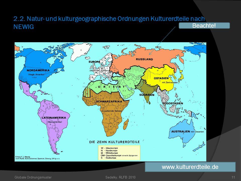 2.2. Natur- und kulturgeographische Ordnungen Kulturerdteile nach NEWIG Globale OrdnungsmusterSedelky, RLFB 201011 Beachte! www.kulturerdteile.de