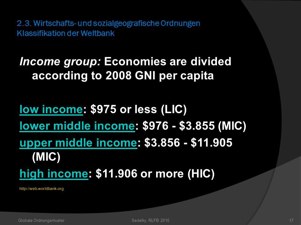 2.3. Wirtschafts- und sozialgeografische Ordnungen Klassifikation der Weltbank Income group: Economies are divided according to 2008 GNI per capita lo