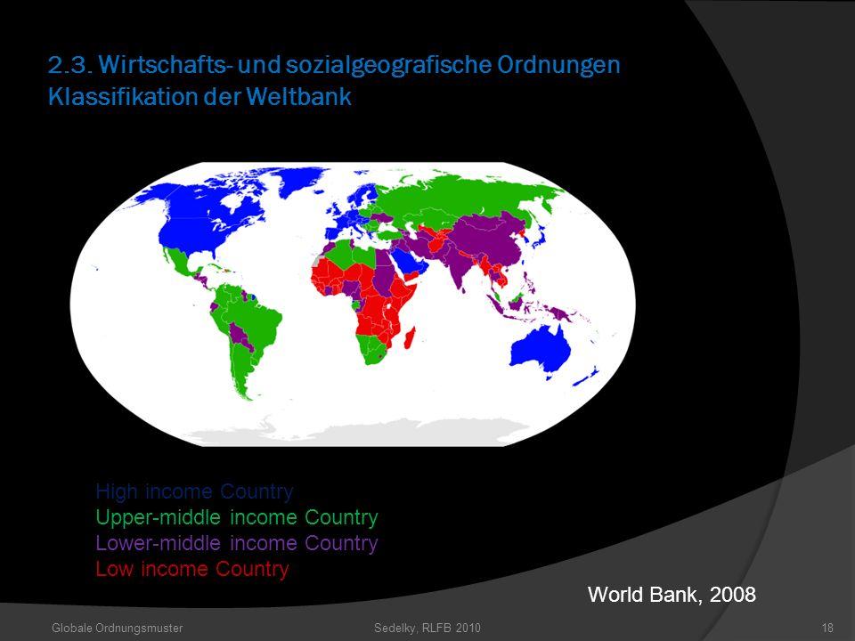 2.3. Wirtschafts- und sozialgeografische Ordnungen Klassifikation der Weltbank Globale OrdnungsmusterSedelky, RLFB 201018 High income Country Upper-mi