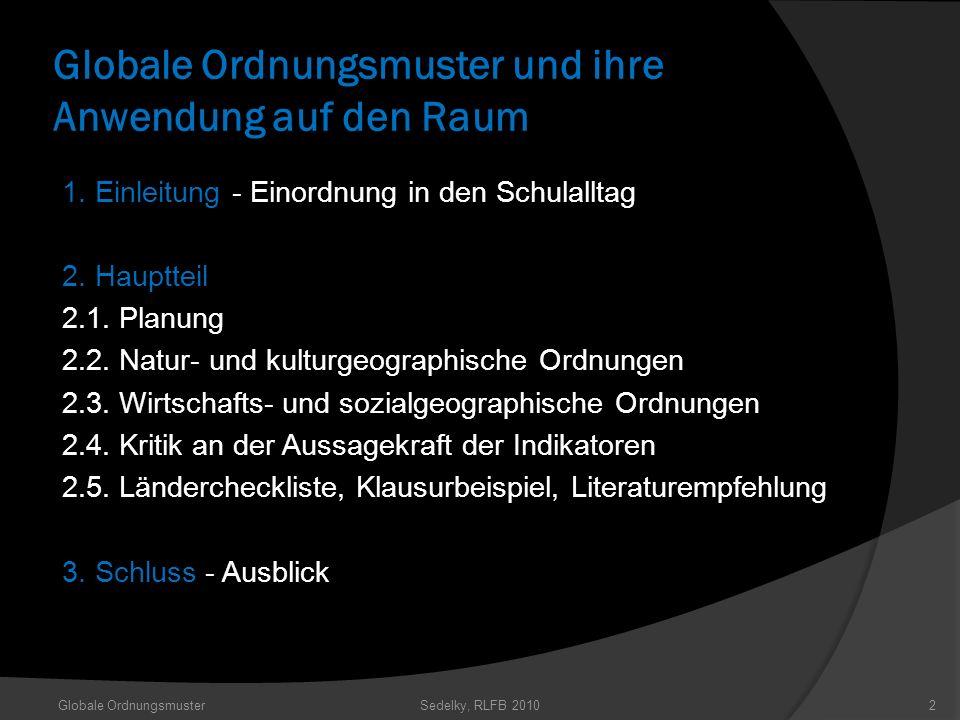Globale Ordnungsmuster und ihre Anwendung auf den Raum 1. Einleitung - Einordnung in den Schulalltag 2. Hauptteil 2.1. Planung 2.2. Natur- und kulturg