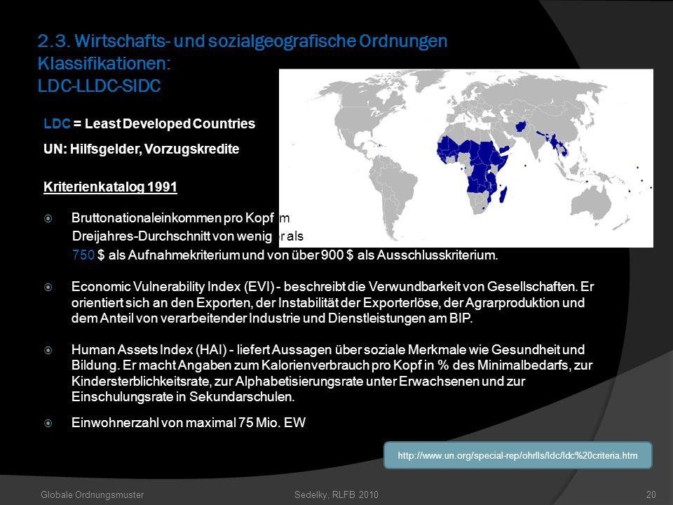 2.3. Wirtschafts- und sozialgeografische Ordnungen Klassifikationen: LDC-LLDC-SIDC Globale OrdnungsmusterSedelky, RLFB 201020 http://www.un.org/specia
