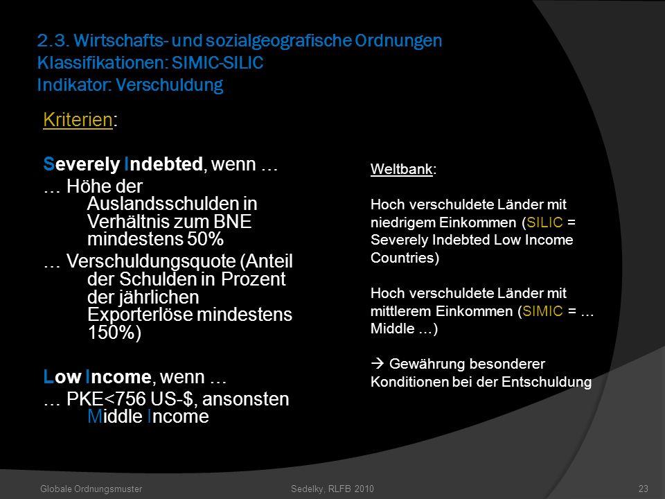 2.3. Wirtschafts- und sozialgeografische Ordnungen Klassifikationen: SIMIC-SILIC Indikator: Verschuldung Kriterien: Severely Indebted, wenn … … Höhe d