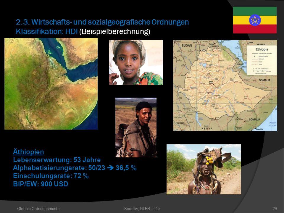 2.3. Wirtschafts- und sozialgeografische Ordnungen Klassifikation: HDI (Beispielberechnung) Äthiopien Lebenserwartung: 53 Jahre Alphabetisierungsrate: