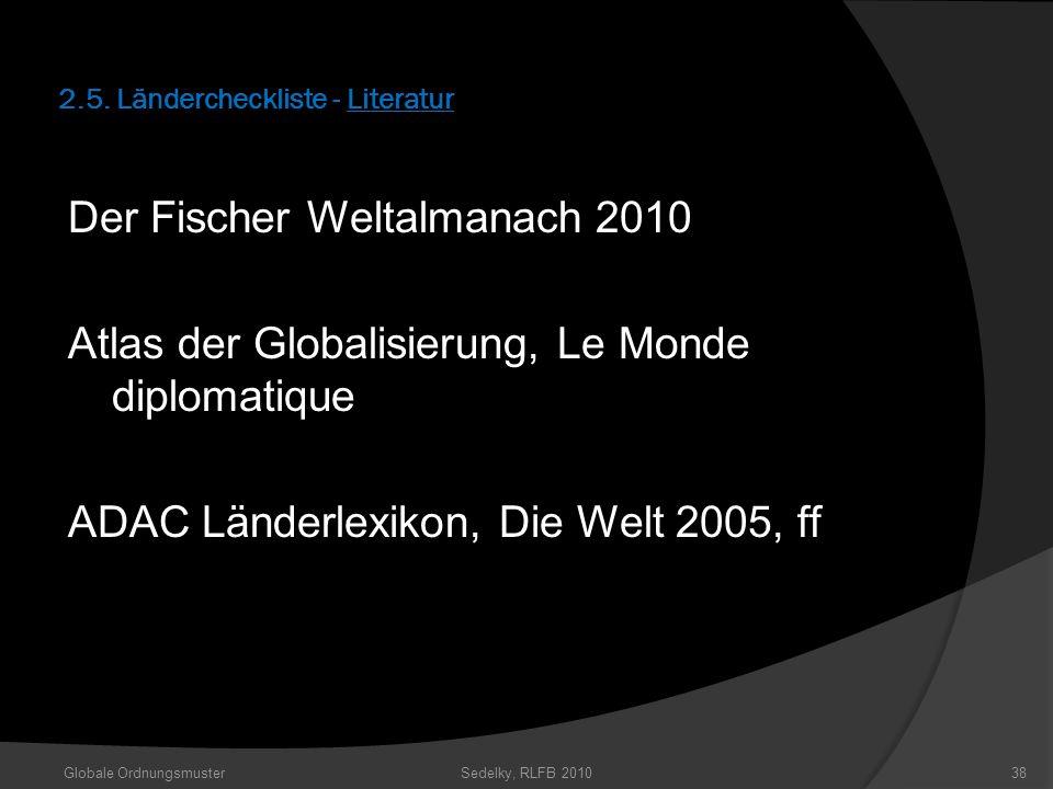 2.5. Ländercheckliste - Literatur Der Fischer Weltalmanach 2010 Atlas der Globalisierung, Le Monde diplomatique ADAC Länderlexikon, Die Welt 2005, ff