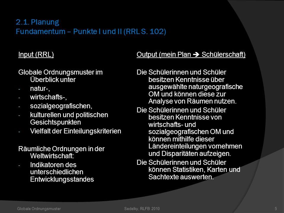 2.1. Planung Fundamentum – Punkte I und II (RRL S. 102) Input (RRL) Globale Ordnungsmuster im Überblick unter - natur-, - wirtschafts-, - sozialgeogra