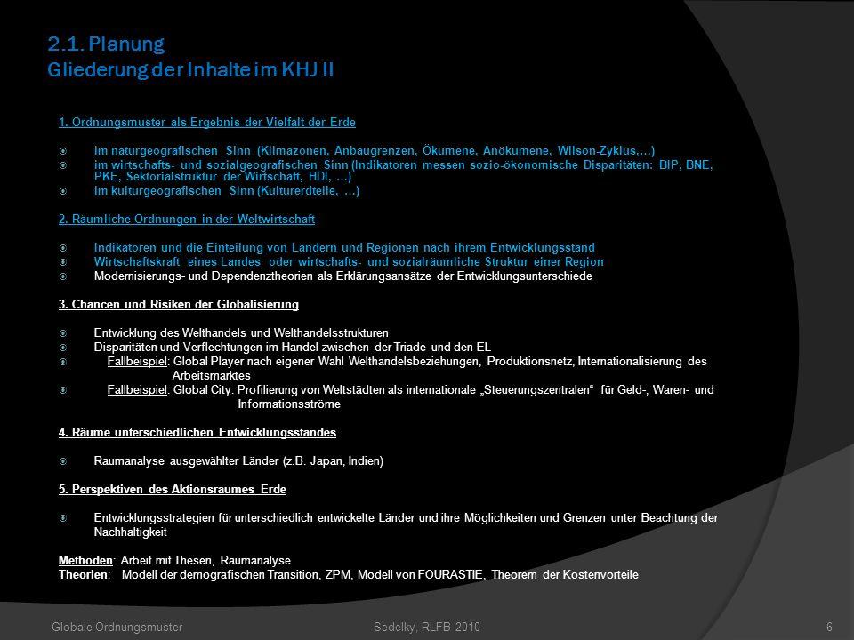 2.1. Planung Gliederung der Inhalte im KHJ II 1. Ordnungsmuster als Ergebnis der Vielfalt der Erde im naturgeografischen Sinn (Klimazonen, Anbaugrenze