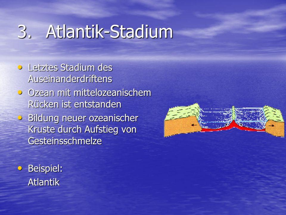 3.Atlantik-Stadium Letztes Stadium des Auseinanderdriftens Letztes Stadium des Auseinanderdriftens Ozean mit mittelozeanischem Rücken ist entstanden O