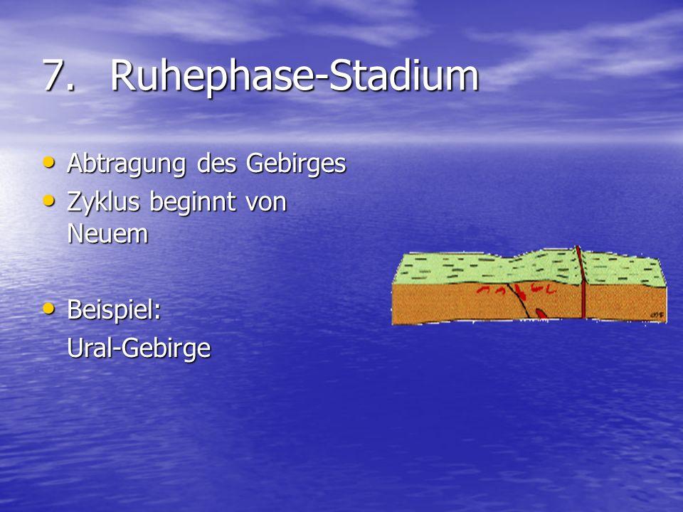 7.Ruhephase-Stadium Abtragung des Gebirges Abtragung des Gebirges Zyklus beginnt von Neuem Zyklus beginnt von Neuem Beispiel: Beispiel:Ural-Gebirge