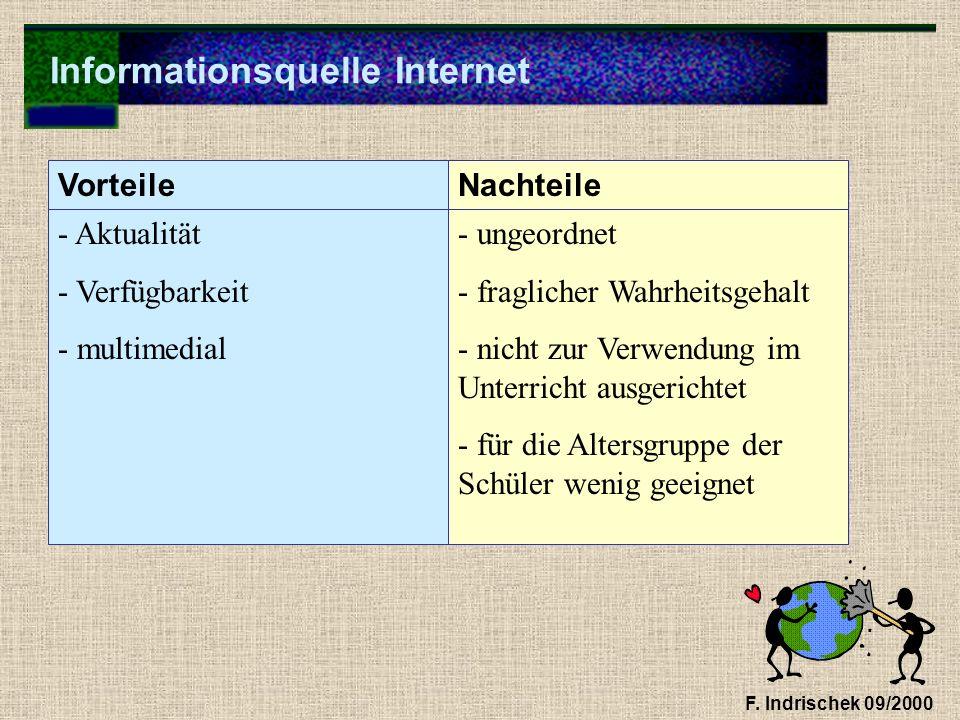 Informationsquelle Internet F. Indrischek 09/2000 - Aktualität - Verfügbarkeit - multimedial - ungeordnet - fraglicher Wahrheitsgehalt - nicht zur Ver