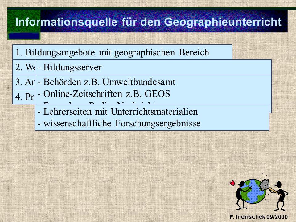 Informationsquelle für den Geographieunterricht F. Indrischek 09/2000 1. Bildungsangebote mit geographischen Bereich 2. Webseiten mit gesichertem Wahr