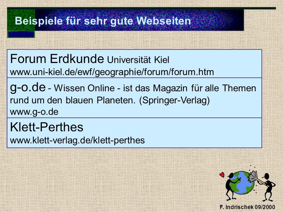 Beispiele für sehr gute Webseiten F. Indrischek 09/2000 Forum Erdkunde Universität Kiel www.uni-kiel.de/ewf/geographie/forum/forum.htm g-o.de - Wissen
