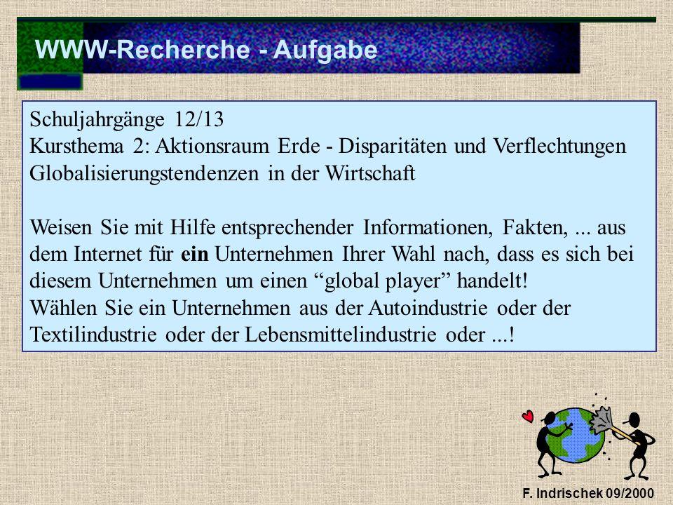 WWW-Recherche - Aufgabe F. Indrischek 09/2000 Schuljahrgänge 12/13 Kursthema 2: Aktionsraum Erde - Disparitäten und Verflechtungen Globalisierungstend