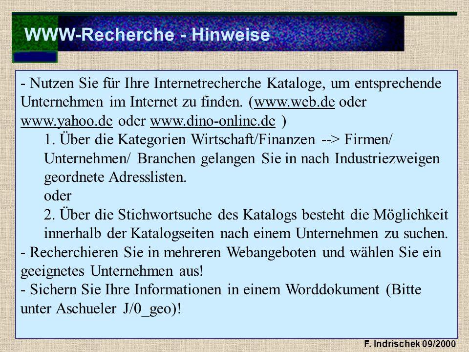WWW-Recherche - Hinweise F. Indrischek 09/2000 - Nutzen Sie für Ihre Internetrecherche Kataloge, um entsprechende Unternehmen im Internet zu finden. (