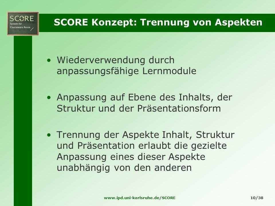 www.ipd.uni-karlsruhe.de/SCORE10/38 SCORE Konzept: Trennung von Aspekten Wiederverwendung durch anpassungsfähige Lernmodule Anpassung auf Ebene des In