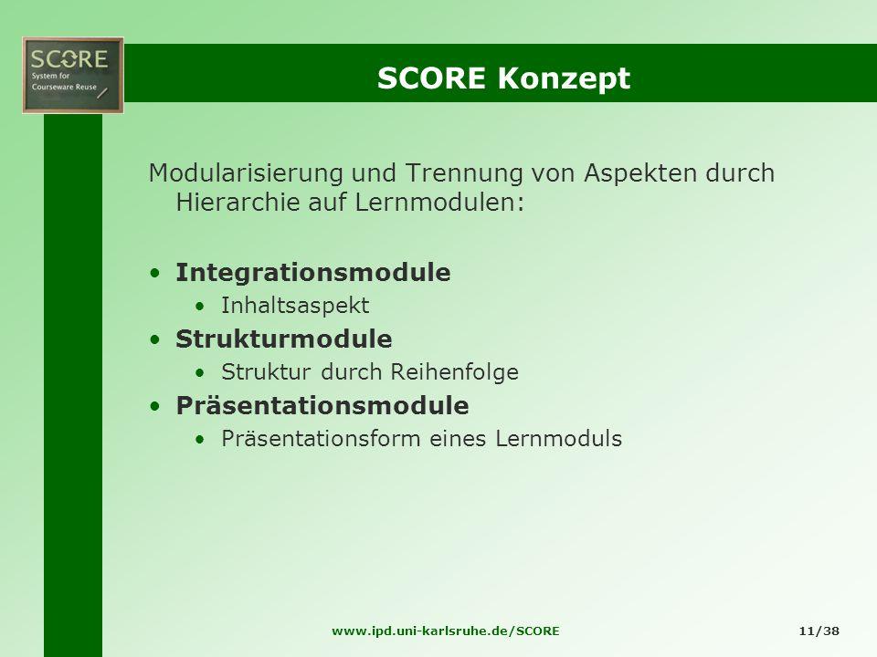 www.ipd.uni-karlsruhe.de/SCORE11/38 SCORE Konzept Modularisierung und Trennung von Aspekten durch Hierarchie auf Lernmodulen: Integrationsmodule Inhal