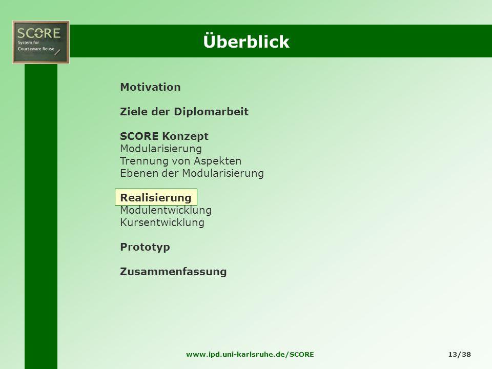 www.ipd.uni-karlsruhe.de/SCORE13/38 Überblick Motivation Ziele der Diplomarbeit SCORE Konzept Modularisierung Trennung von Aspekten Ebenen der Modular