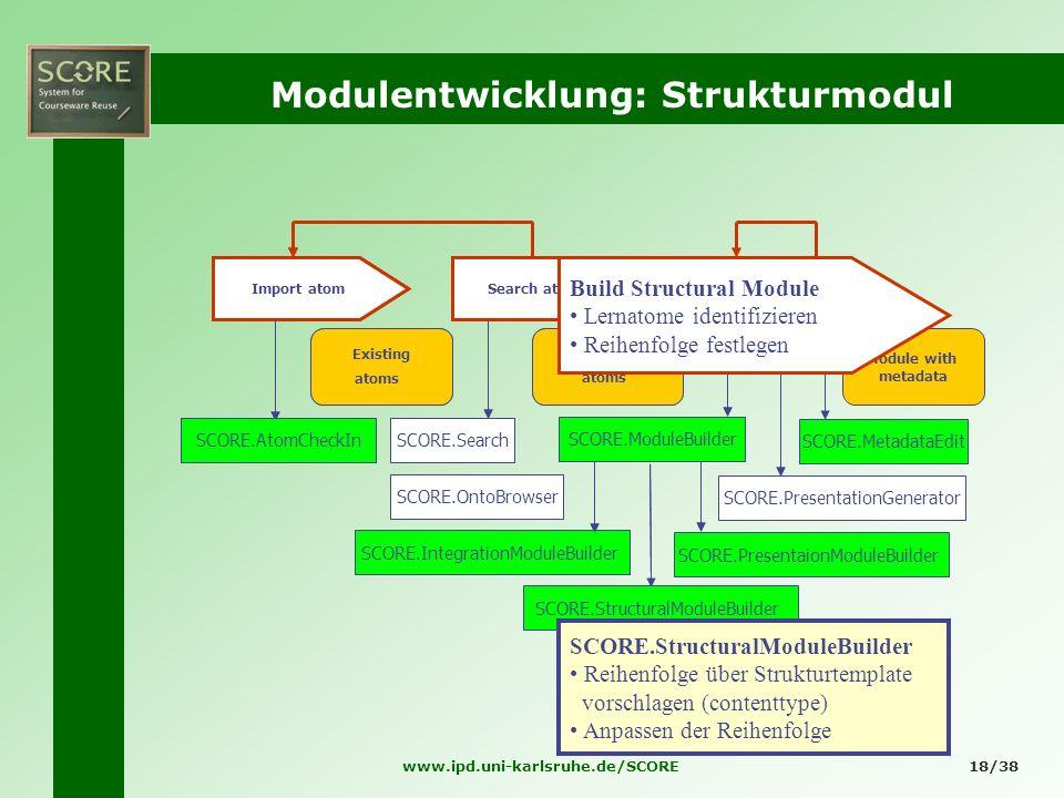 www.ipd.uni-karlsruhe.de/SCORE18/38 Modulentwicklung: Strukturmodul Existing atoms Search atoms Suitable atoms Module with metadata Import atom Module