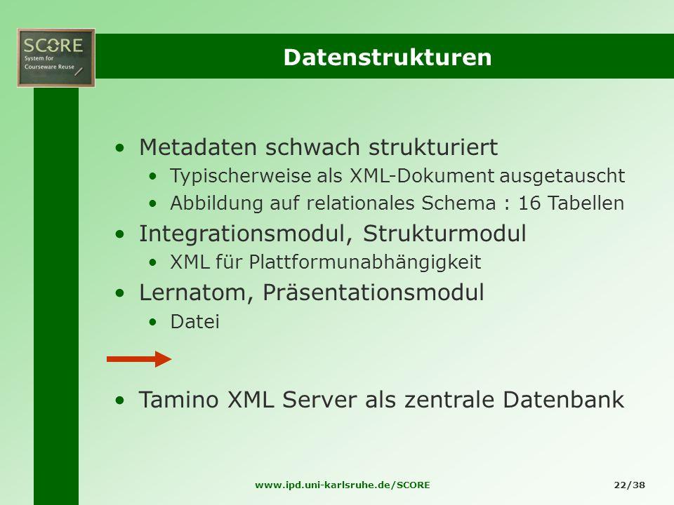 www.ipd.uni-karlsruhe.de/SCORE22/38 Datenstrukturen Metadaten schwach strukturiert Typischerweise als XML-Dokument ausgetauscht Abbildung auf relation