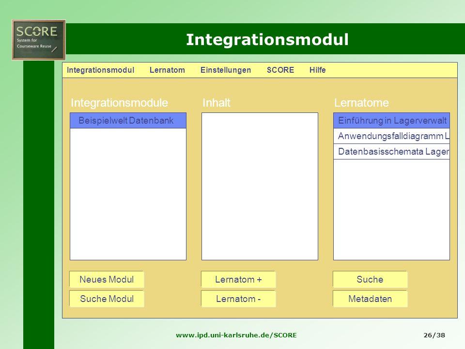 www.ipd.uni-karlsruhe.de/SCORE26/38 Integrationsmodul Integrationsmodul Lernatom Einstellungen SCORE Hilfe IntegrationsmoduleInhaltLernatome Anwendung