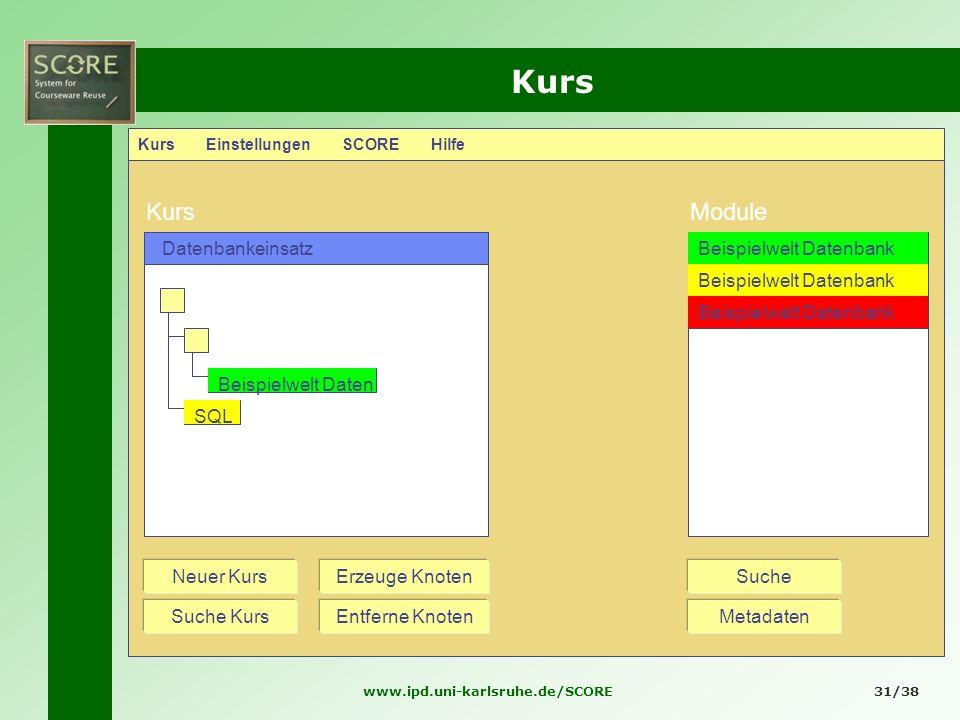 www.ipd.uni-karlsruhe.de/SCORE31/38 Kurs Kurs Einstellungen SCORE Hilfe KursModule Datenbankeinsatz Neuer Kurs Suche Kurs SucheErzeuge Knoten Entferne