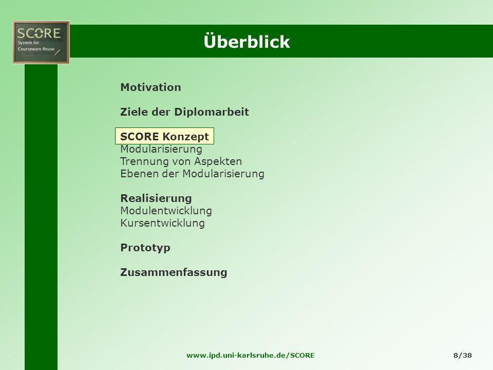 www.ipd.uni-karlsruhe.de/SCORE8/38 Überblick Motivation Ziele der Diplomarbeit SCORE Konzept Modularisierung Trennung von Aspekten Ebenen der Modulari
