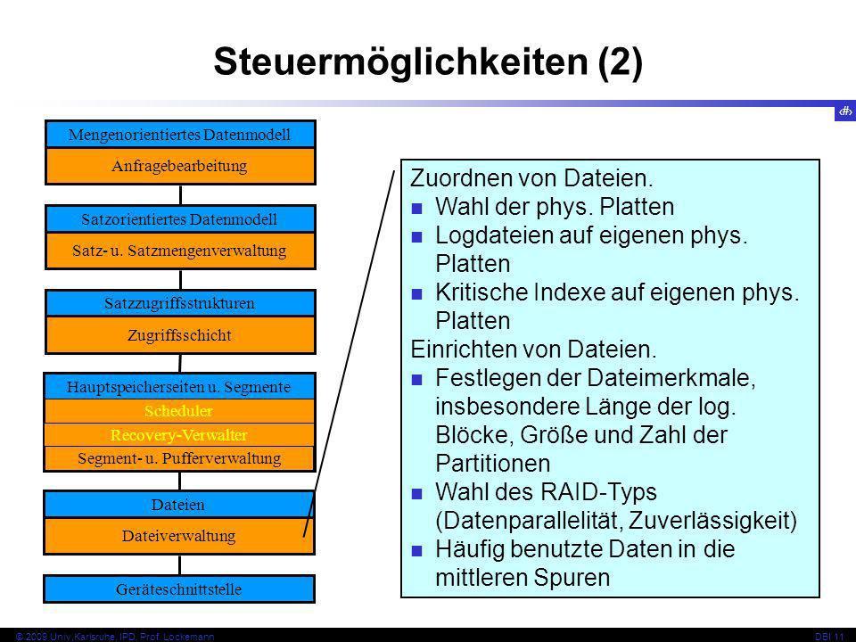 15 © 2009 Univ,Karlsruhe, IPD, Prof. LockemannDBI 11 Steuermöglichkeiten (2) Mengenorientiertes Datenmodell Anfragebearbeitung Satzorientiertes Datenm