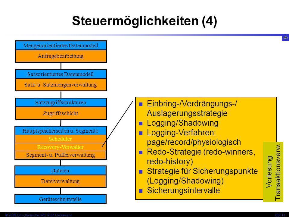 17 © 2009 Univ,Karlsruhe, IPD, Prof. LockemannDBI 11 Steuermöglichkeiten (4) Mengenorientiertes Datenmodell Anfragebearbeitung Satzorientiertes Datenm