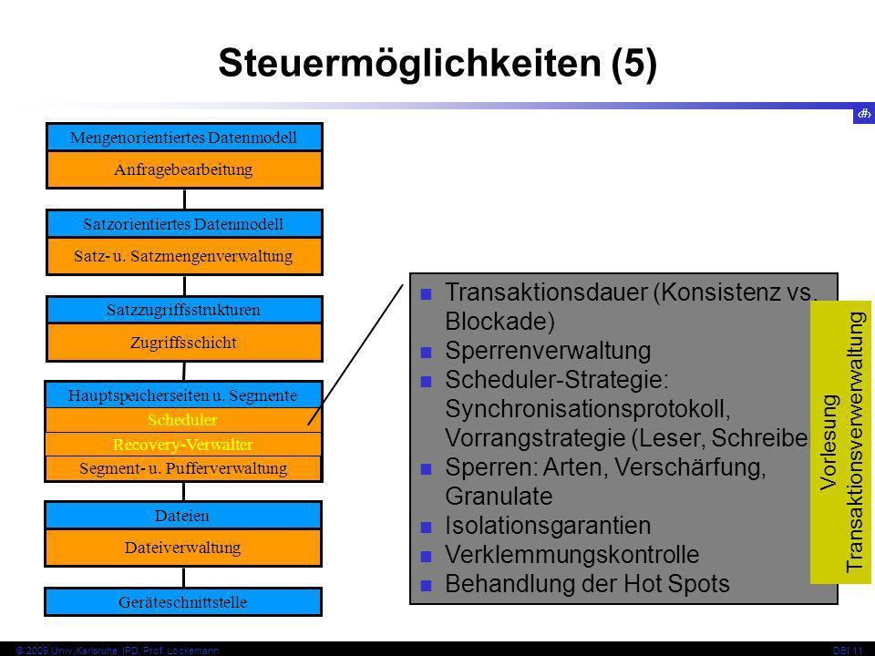 18 © 2009 Univ,Karlsruhe, IPD, Prof. LockemannDBI 11 Steuermöglichkeiten (5) Mengenorientiertes Datenmodell Anfragebearbeitung Satzorientiertes Datenm