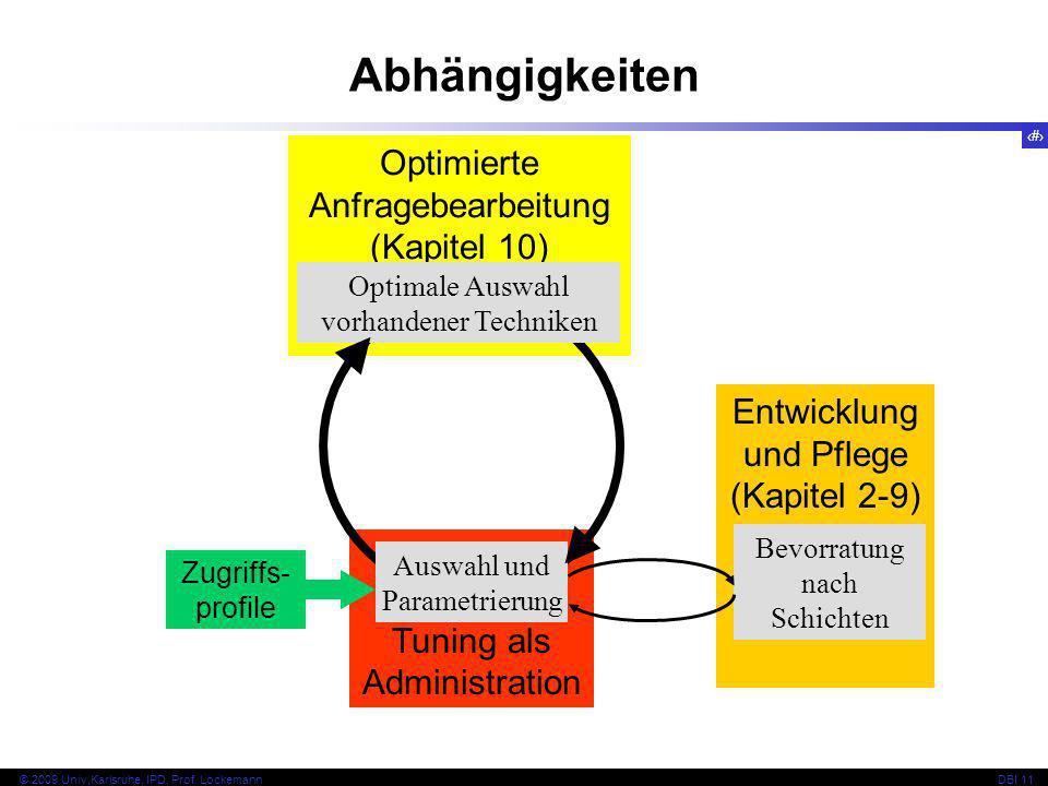 2 © 2009 Univ,Karlsruhe, IPD, Prof. LockemannDBI 11 Tuning als Administration Optimierte Anfragebearbeitung (Kapitel 10) Entwicklung und Pflege (Kapit
