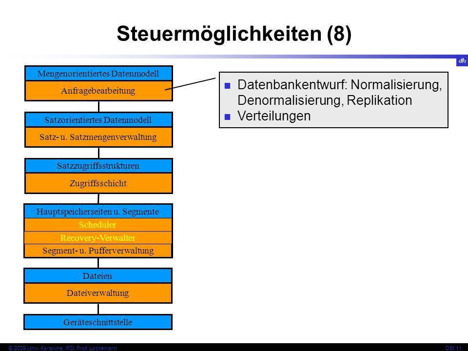 21 © 2009 Univ,Karlsruhe, IPD, Prof. LockemannDBI 11 Steuermöglichkeiten (8) Mengenorientiertes Datenmodell Anfragebearbeitung Satzorientiertes Datenm