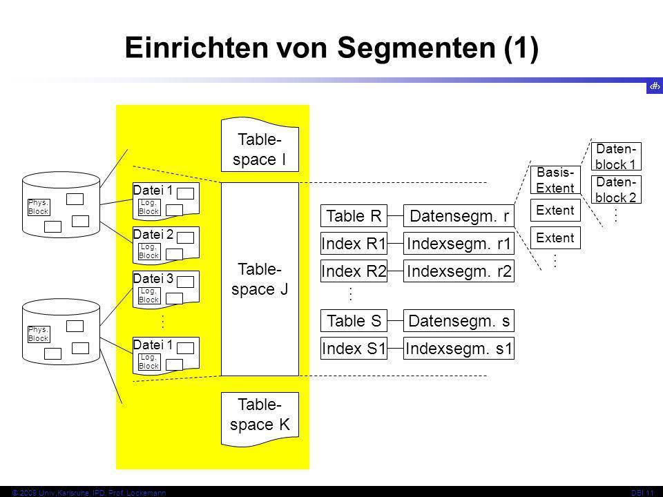 29 © 2009 Univ,Karlsruhe, IPD, Prof. LockemannDBI 11 Einrichten von Segmenten (1) Phys. Block Datei 1 Datei 2 Log. Block Datei 3 Log. Block Datei 1 Lo