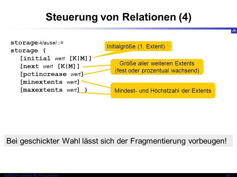 34 © 2009 Univ,Karlsruhe, IPD, Prof. LockemannDBI 11 Steuerung von Relationen (4) storage -klausel ::= storage ( [initial wert [K|M]] [next wert [K|M]