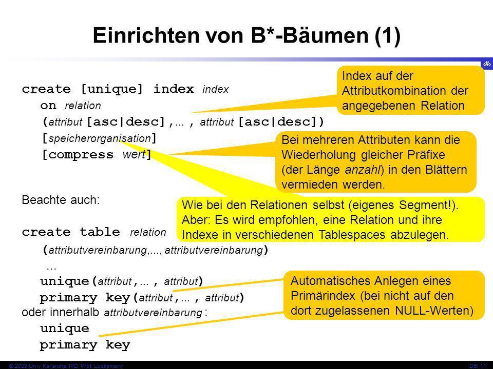 35 © 2009 Univ,Karlsruhe, IPD, Prof. LockemannDBI 11 Wie bei den Relationen selbst (eigenes Segment!). Aber: Es wird empfohlen, eine Relation und ihre