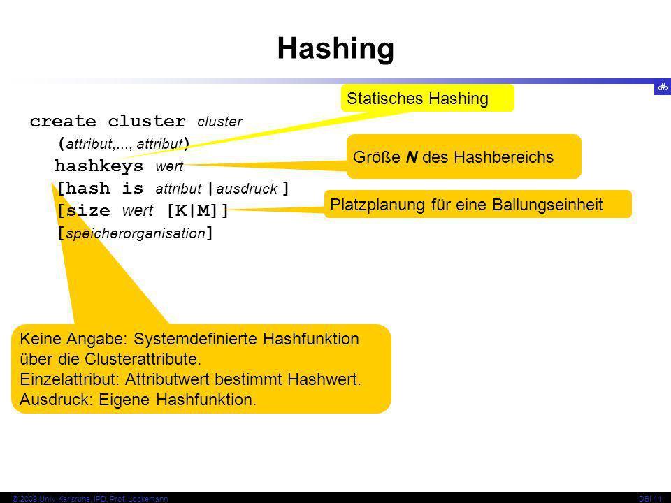 39 © 2009 Univ,Karlsruhe, IPD, Prof. LockemannDBI 11 Keine Angabe: Systemdefinierte Hashfunktion über die Clusterattribute. Einzelattribut: Attributwe